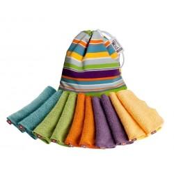 POP-IN bambusz törlőkendők élénk színben (10 db + színes zsák)