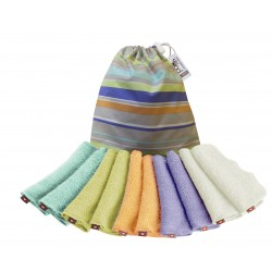 POP-IN bambusz törlőkendők pasztell színben (10 db + színes zsák)